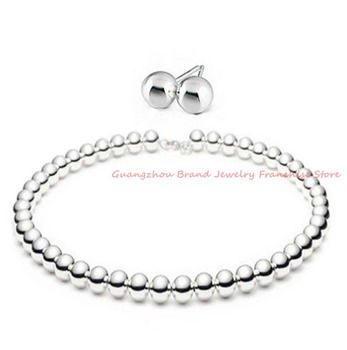 Dazzling Lovely Jewelry Set Silver 8mm Beads Fashion 316L Stainless Steel Pure HandmadeNecklace Earrings For Gir's Gift